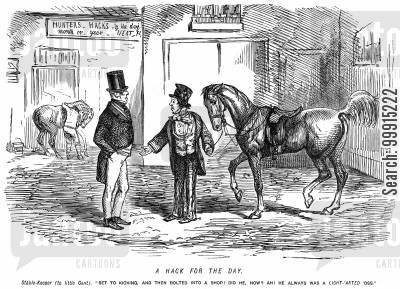 stable keepers cartoon humor: Man returning hired horse which bolted into a shop