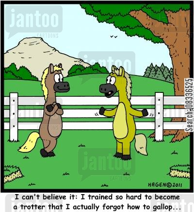 gallop cartoon humor: 'I can't believe it: I trained so hard to become a trotter that I actually forgot how to gallop...'