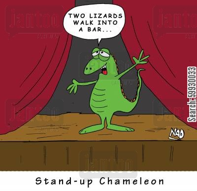 stand up comedians cartoon humor: Stand-up Chameleon.