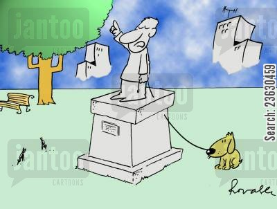 soap boxes cartoon humor: Dog owner made into a statue.