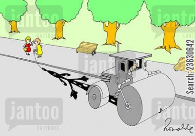 careless cartoon humor: Dog under a steamroller.