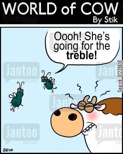 treble cartoon humor: Oooh! She's going for the treble!