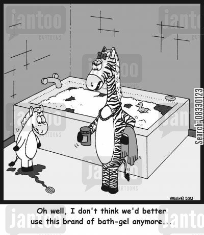 toilettries cartoon humor: 'Oh well, I don't think we'd better use this brand of bath-gel anymore...'