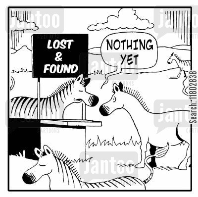 african plain cartoon humor: Lost and Found - 'Nothing yet.' (Zebra has lots its stripes).