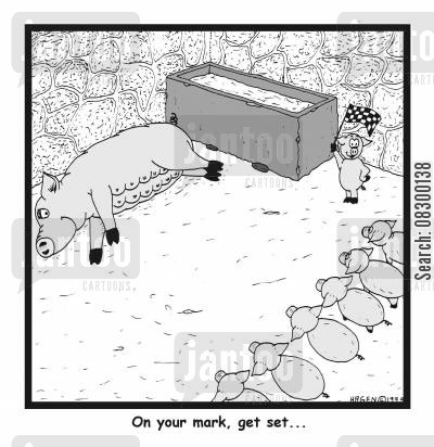 milk cartoon humor: On your mark, get set....