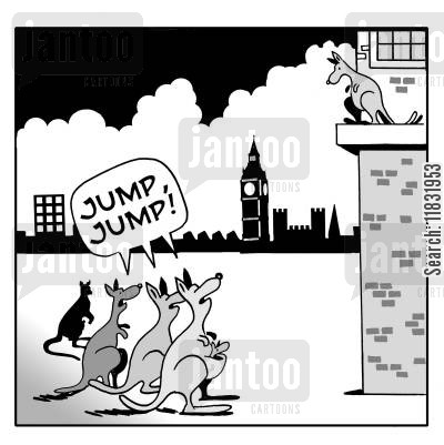 ledges cartoon humor: Jump! Jump!