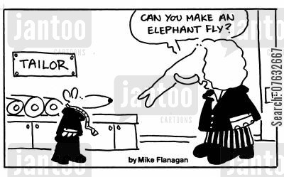 sewings cartoon humor: Can you make an elephant fly?