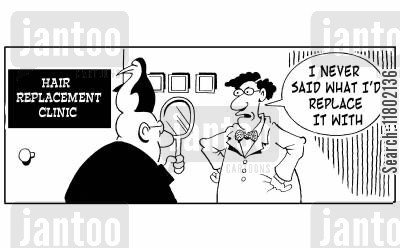 beauticians cartoon humor: Hair replacement clinic - man had his hair replaced with a penguin.