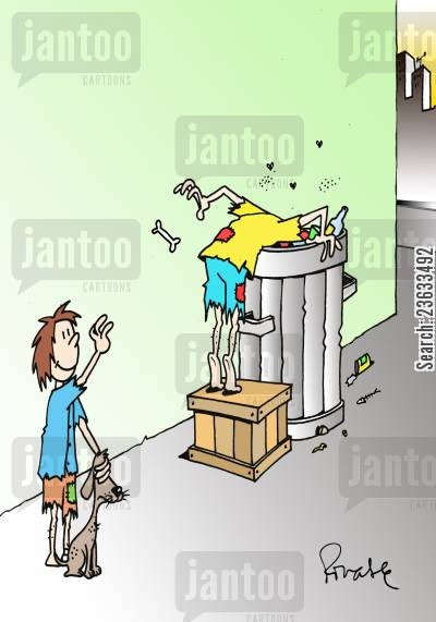 garbage can cartoon humor: Street Kids Find a Surprise Bone for their Dog.