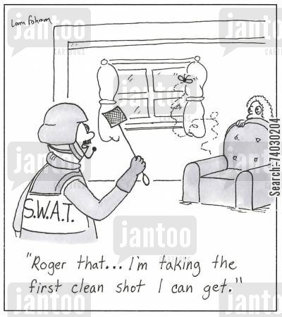 snipers cartoon humor: 'Roger that...I'm taking the first clean shot I can get.'