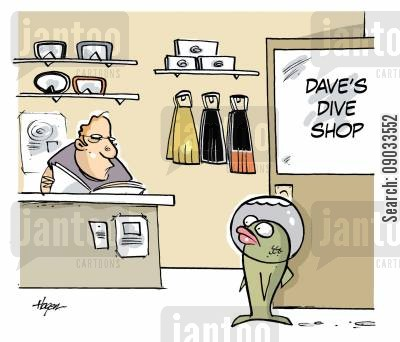 sales person cartoon humor: Fish breathing water enters dive shop.