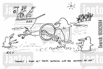 holiday in the sun cartoon humor: 'Frankly I think he's taking swimming with the dolphins too far.'