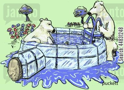 hot tub cartoon humor: A couple of polar bears enjoy their new swimming pool - a refurbished igloo . . .