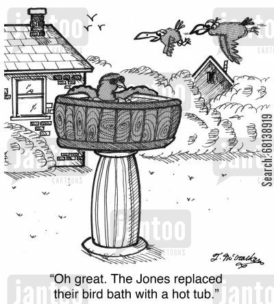 bathe cartoon humor: 'Oh great. The Jones replaced their bird bath with a hot tub.'