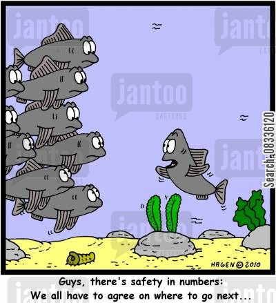 making cartoon humor: 'Guys, there's safety in numbers: We all have to agree on where to go next...'