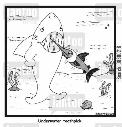 swordfishes cartoon humor: Underwater Toothpick