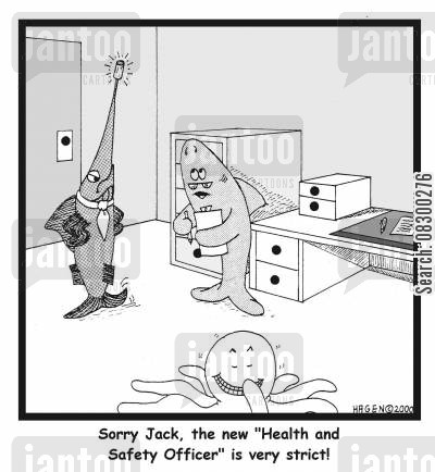 swordfishes cartoon humor: Sorry, Jack, the new 'Health and Safety Officer' is very strict!