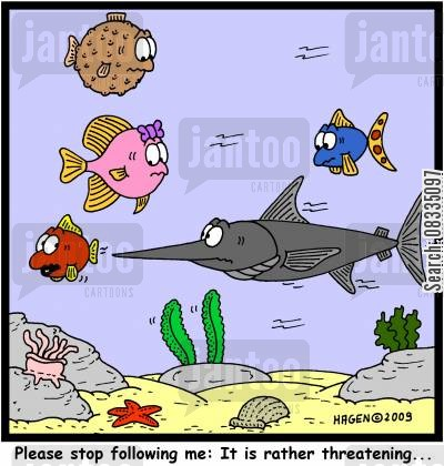 seabed cartoon humor: 'Please stop following me: It is rather threatening...'