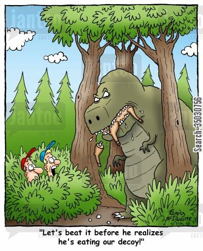 prehistoric animals cartoon humor: 'Let's beat it before he realizes he's eating our decoy!'