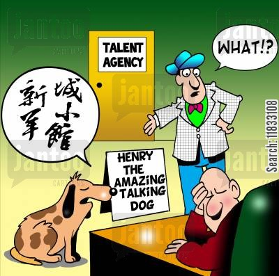 talent cartoon humor: Henry the amazing talking dog.