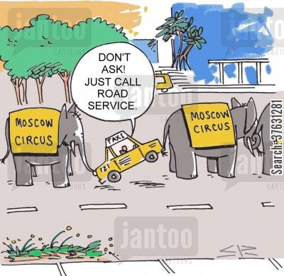 circus animals cartoon humor: 'Don't ask Just call road service'