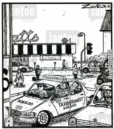 taxicabs cartoon humor: Taxidermist (a cab with 2 stuffed guys in it).