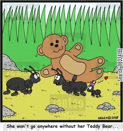 comforter cartoon humor: 'She won't go anywhere without her Teddy Bear...'