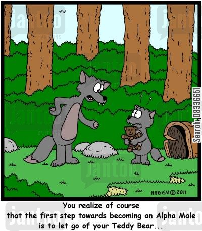alpha cartoon humor: 'You realize of course that the first step towards becoming an Alpha Male is to let go of your Teddy Bear...'