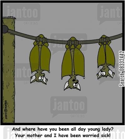 staying out cartoon humor: And where have you been all day young lady? Your mother and I have been worried sick!