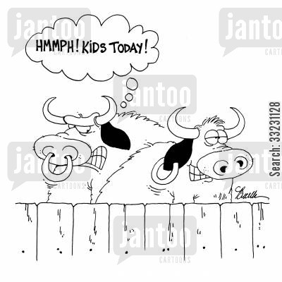 nose ring cartoon humor: Hmmph! Kids today!