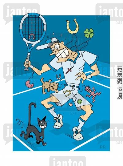 clover cartoon humor: Superstitious tennis player wearing lucky charms with black cat passing by.