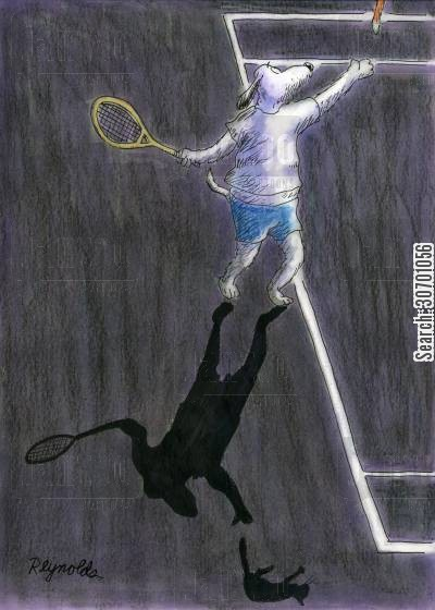tennis balls cartoon humor: Dog playing tennis with a cat instead of a tennis ball.