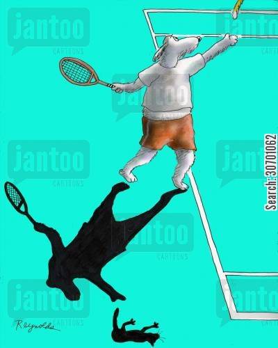 tennis balls cartoon humor: Dog playing tennis with rat instead of tennis ball.