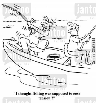 tense cartoon humor: Man struggling with fish: 'I thought fishing was supposed to ease tension!!'