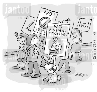 animal rights protestors cartoon humor: No animal testing!