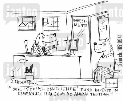 fund managers cartoon humor: 'Our social conscience fund invests in companies that don't do animal testing.'