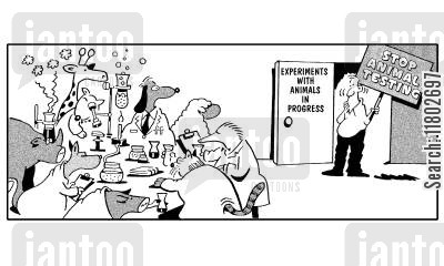 lab animal cartoon humor: Experiments with animals in progress - stop animal testing.