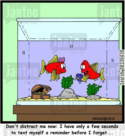 text reminder cartoon humor: 'Don't distract me now: I have only a few seconds to text myself a reminder before I forget...'