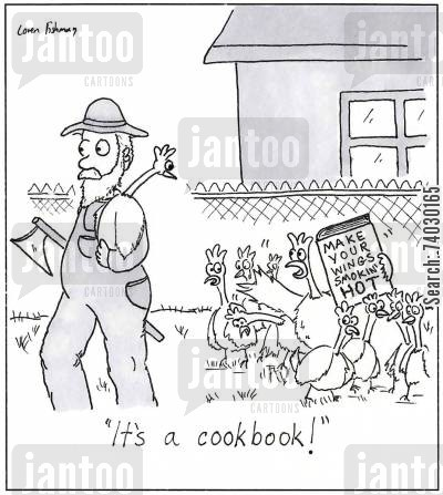 sauces cartoon humor: 'It's a cookbook!'
