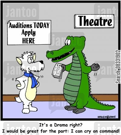 dramas cartoon humor: 'It's a Drama right? I would be great for the part: I can cry on command!'