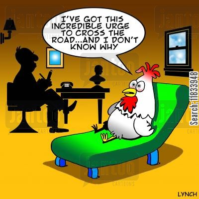 chicken jokes cartoon humor: 'I've got this incredible urge to cross the road...'