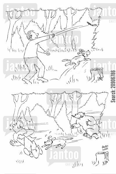 throws cartoon humor: Man throwing stick for dog and disturbing bear