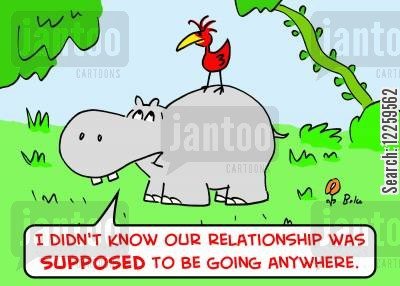 tick birds cartoon humor: 'I didn't know our relationship was SUPPOSED to be going anywhere.'