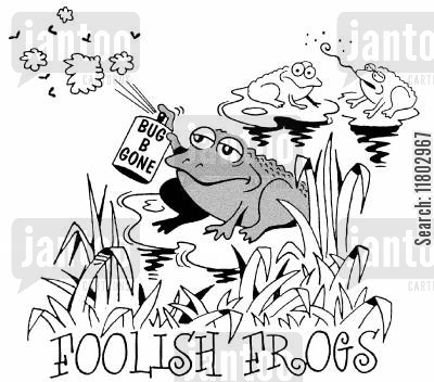 fly sprays cartoon humor: Foolish frogs...with flyspray.