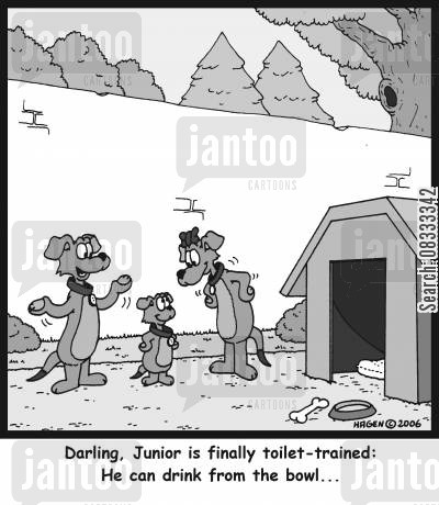 toilet trained cartoon humor: 'Darling, Junior is finally toilet-trained: He can drink from the bowl...'