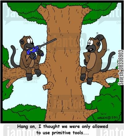electric drills cartoon humor: 'Hang on, I thought we were only allowed to use primitive tools...'
