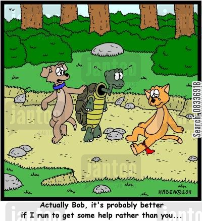 speediness cartoon humor: 'Actually Bob, it's probably better if I run to get some help rather than you...'