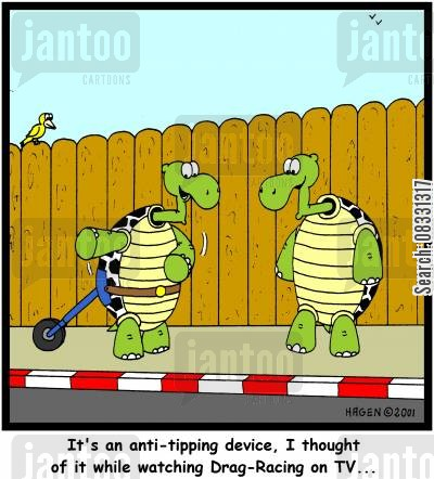 anti-tipping cartoon humor: It's an anti-tipping device, I thought of it while watching Drag-Racing on TV...
