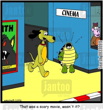 showcase cartoon humor: 'That was a scary movie, wasn't it?'