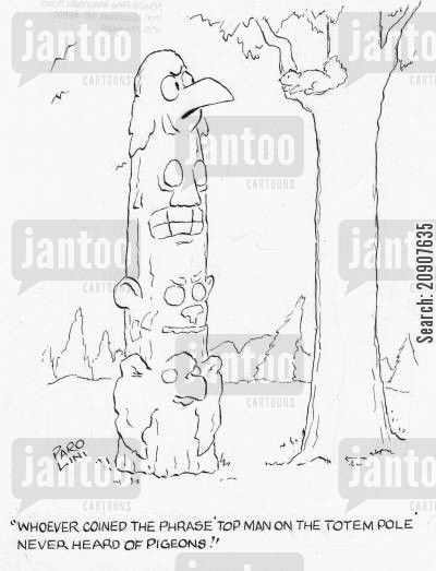 totems cartoon humor: 'Whoever conned the phrase 'top man on the totem pole' never heard of pigeons.'